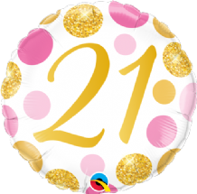 "21 Birthday Pink & Gold Dots Foil Balloon (18"") 1pc"